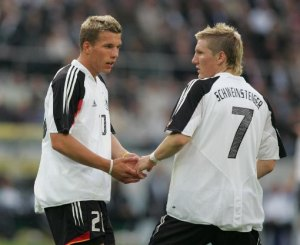 Poldi and Schweini had to go through some horrible hair stages before reaching the Century Club.