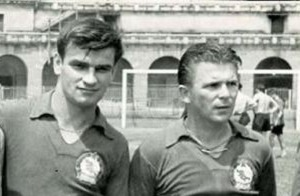 Kocsis (left) and Puskas (right). Boy did they have some good haircuts back then!
