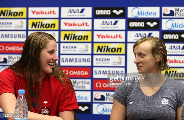 """""""OMG Katie, you realize that in two Chapioships we each won more gold medals than the all-time leaders until 2013?"""" """"I know, right?! We are so awesome!"""""""