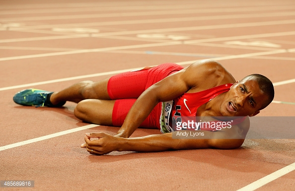 Ashton Eaton, doing his best van Niekerk impression.